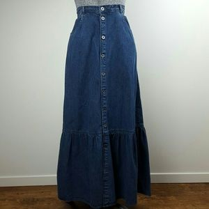 NWT Vintage Blue Denim Prairie Skirt